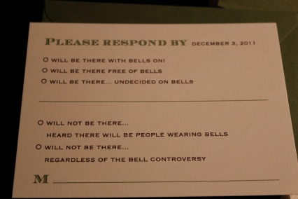 Make sure you know your stance on bells before RSVPing. (Via)