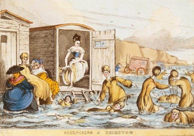 """Mermaids at Brighton"" by William Heath (1795 - 1840), c. 1829. Depicts women sea-bathing with bathing machines at Brighton."