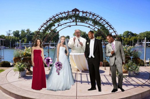 This is what the wedding ceremony set up would look like for a wedding made up of models and officiated by the Pope.