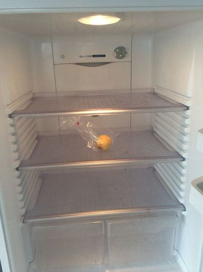 Platonic ideal of an office fridge at the end of the day. [Via Wikimedia Commons]